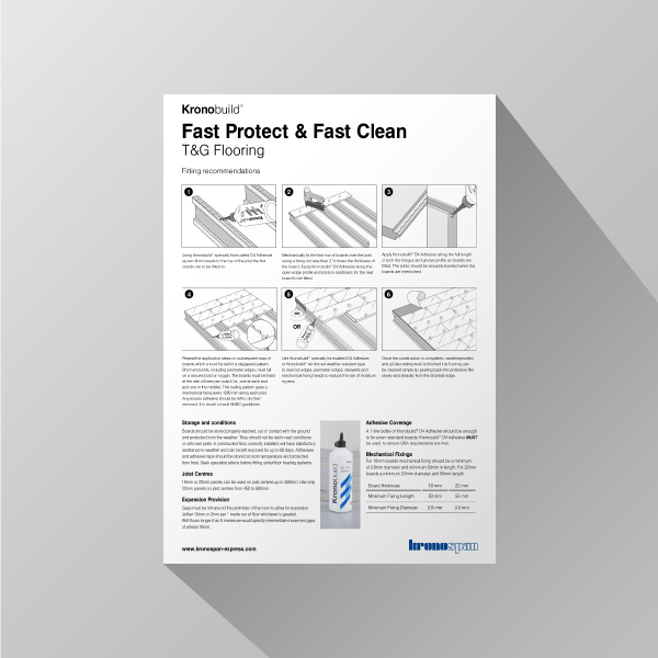 Kronobuild Fast Clean and Fast Protect T&G Flooring fitting guide